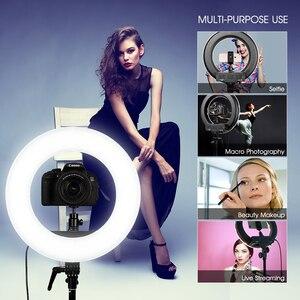 Image 5 - TRAVOR RL 12 LED halka ışık kısılabilir yüzük lamba 3200K/5500K fotoğrafçılık halka ışık lamba makyaj selfi ışığı 2M tripod standı