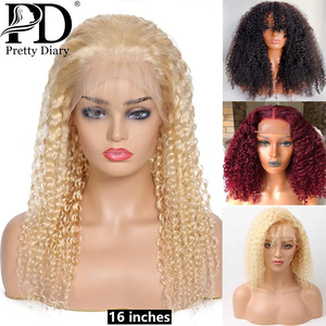 613 Blonde Curly Short Bob Lace Front Wig For Women Water Wave Lace Front Wig Deep Wave Burgundy Brazilian Curly Human Hair Wig
