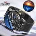 HAIQIN Mens Relógios Top Marca de Luxo Militar Relógio Cronógrafo de Quartzo Dos Homens de Negócios À Prova D' Água Relógio de Malha de Aço Relogio Masculin