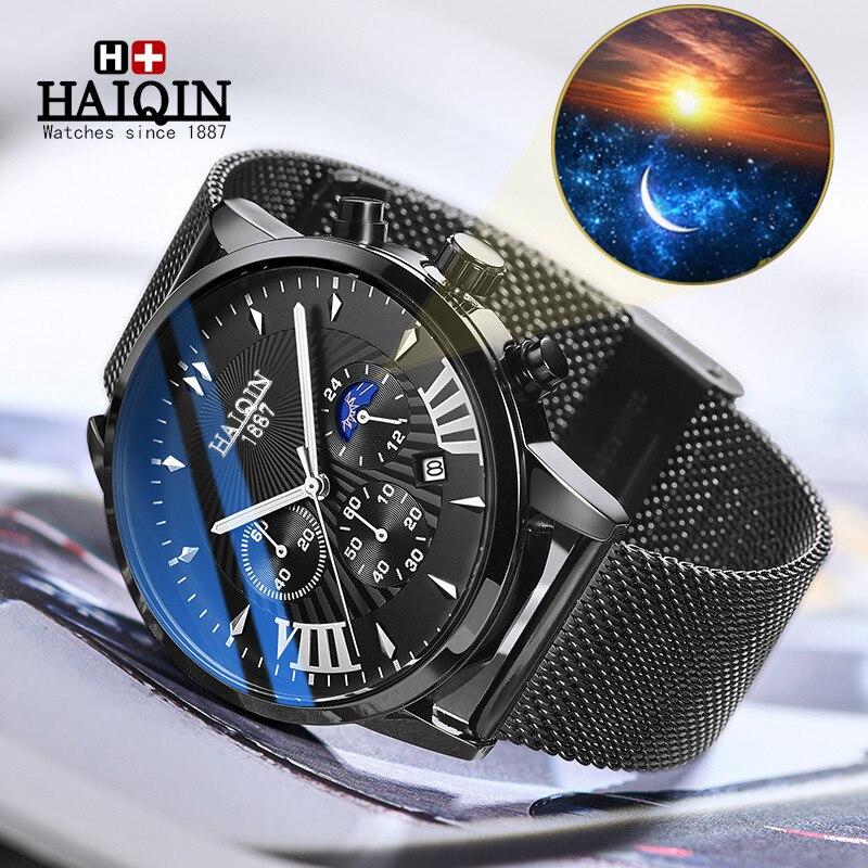 Mens Watches Top Brand Luxury HAIQIN Military Waterproof Watch Men Business Quartz Chronograph Mesh Steel Clock Relogio Masculin