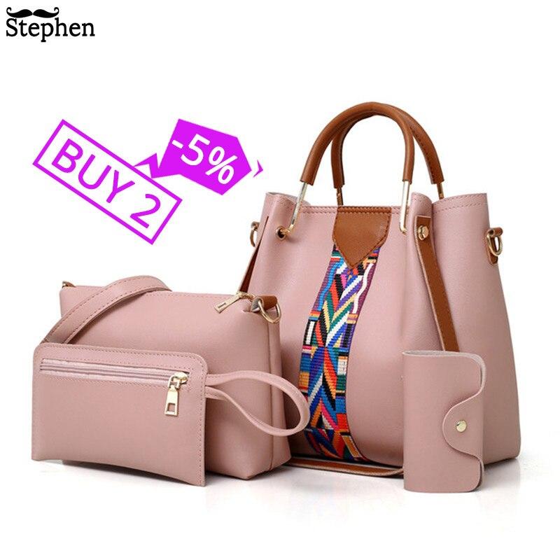 Fashion Women's Handbags 4 Pcs/set Composite Bags Handbag Women Shoulder Bags Female Totes Large Capacity Women's Crossbody Bags