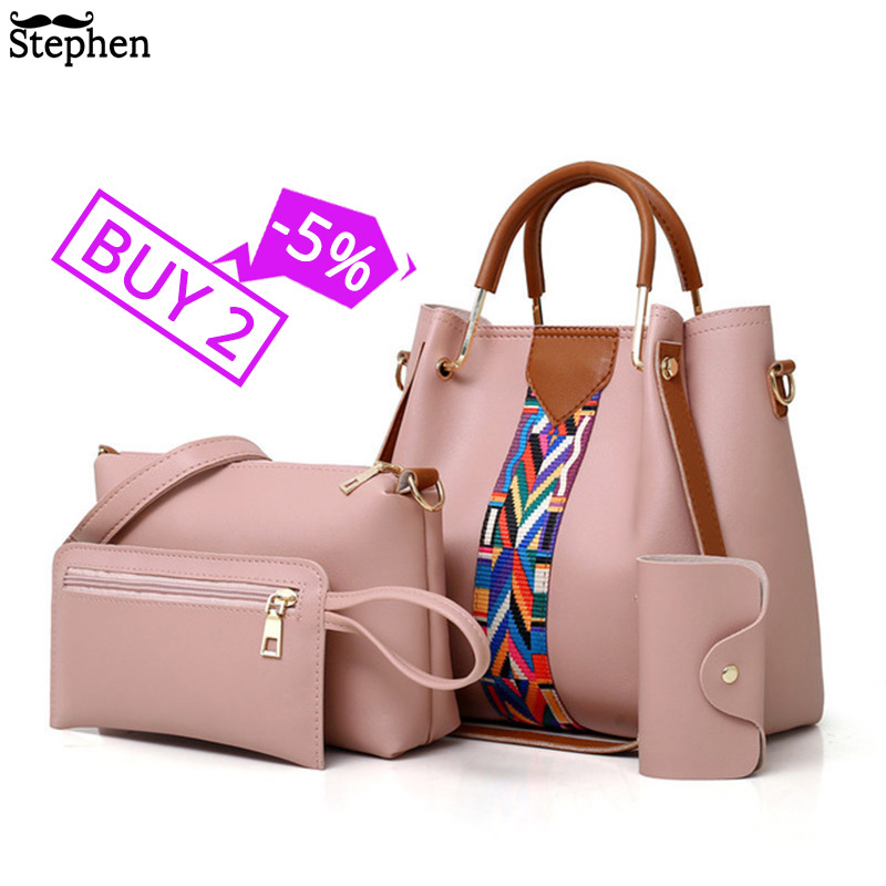 Fashion Women's Handbags 4 Pcs/set Composite Bags Handbag Women Shoulder Bags Female Totes Large Capacity Women's Crossbody Bags