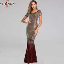 YIDINGZS nowy bez pleców, długa cekinowe suknie wieczorowe 2020 elegancki złoty suknia wieczorowa YD9628
