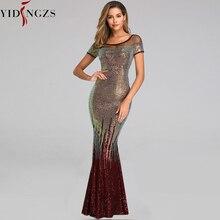 Yidingzs Mới Hở Lưng Dài Đầm Váy Đầm Dạ 2020 Thanh Lịch Vàng Trang Phục Dạ Hội YD9628