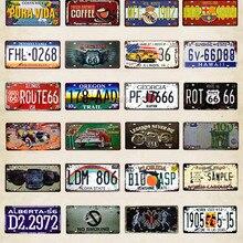 Route 66 винтажные металлические жестяные знаки номер автомобиля номерной знак пластинчатая доска плакат Бар Клуб стены гаража украшения дома 15*30 см