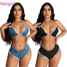 Adogirl Sexy Denim Dua Buah Set Baju Renang Berlian Halter Bra Crop Top Celana Pendek Mini Suit Fashion Baju Pantai Malam club(China)