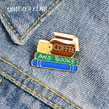 QIHE JEWELRY Cute Enamel Pins Coffee and Books Brooches Badges Fashion Cartoon Pins Reading day Gifts for Friends Wholesale