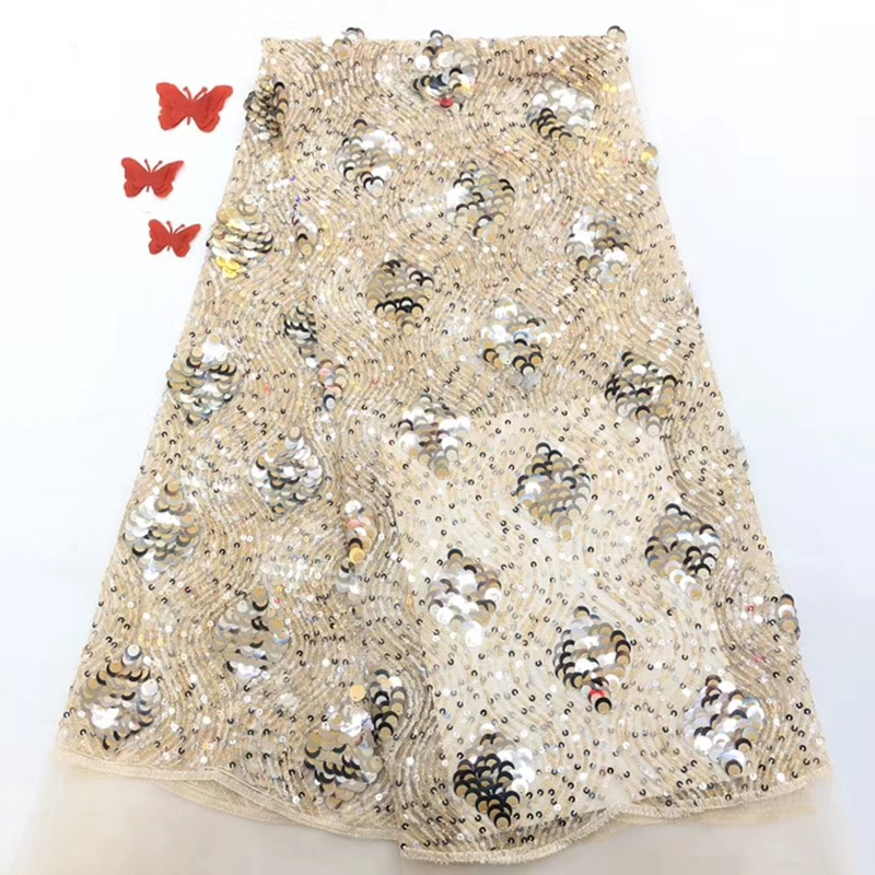 2020 New Style French Net Lace Fabric With Sequins High Quality African Tulle Mesh Lace Nigerian Lace Fabric For Nigerian Party