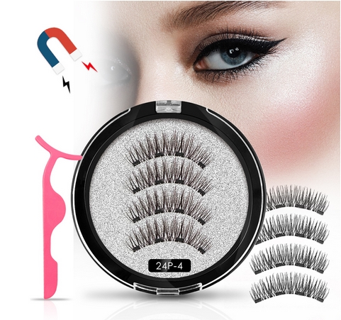 4 Magnetic Eyelashes Extension Natural False Eyelash On Magnets Reusable 3D Magnetic Fake Eye Lashes Makeup 52HB-4