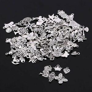 Silver Charms Pendants Jewelry-Making Mixed-Shape Random for DIY 100pcs/Lot Tibtan Men