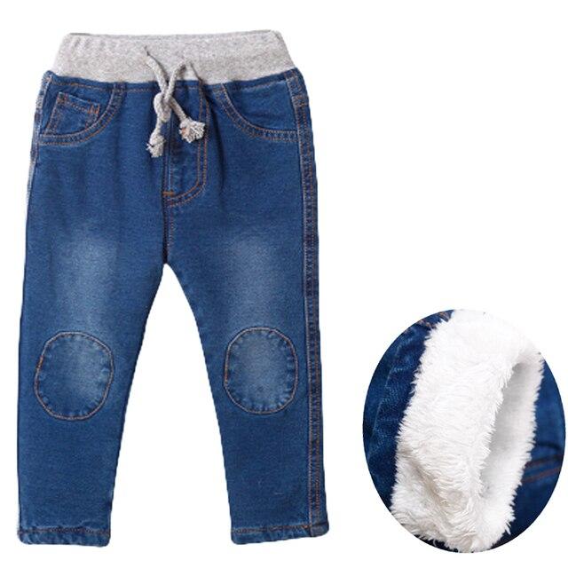 2019 New Warm pants Kids Cartoon Pant Fashion Boy Girl Jeans Winter Thickening Kids Denim Pants Baby Jean Infant Clothing 1-6Y