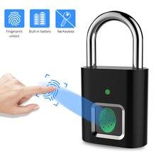Parmak izi kilidi USB şarj edilebilir hızlı kilidini su geçirmez uzun bekleme elektronik asma kilit anti hırsızlık kapı valiz çantası