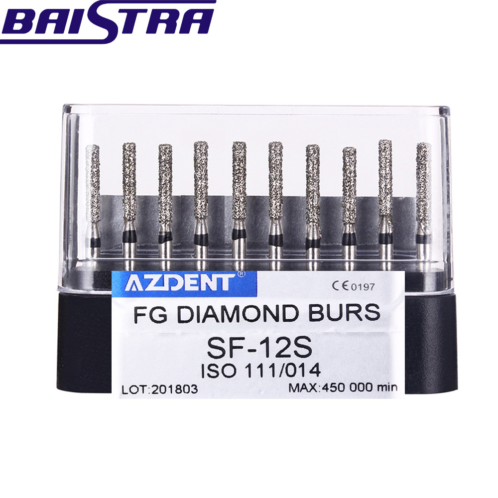 SF-12S 10 Pcs/set Dental High Speed Diamond Burs  Dentist Super Coarse Diamond Dental Lab Tools