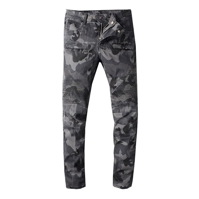 Sokotoo Men's Camouflage Printed Biker Jeans For Motorcycle Military Pleated Slim Stretch Denim Pants