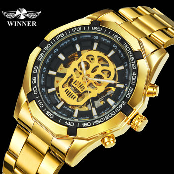 цена на WINNER New Fashion Mechanical Watch Men Skull Design Top Brand Luxury Golden Stainless Steel Strap Skeleton Man Auto Wrist Watch