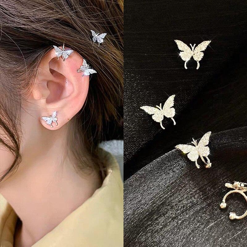2020 New Mini Minimalist Butterfly Fairy Shiny Exquisite Unique Ear Bone Clip No Piercings Earrings For Women Jewelry Gifts