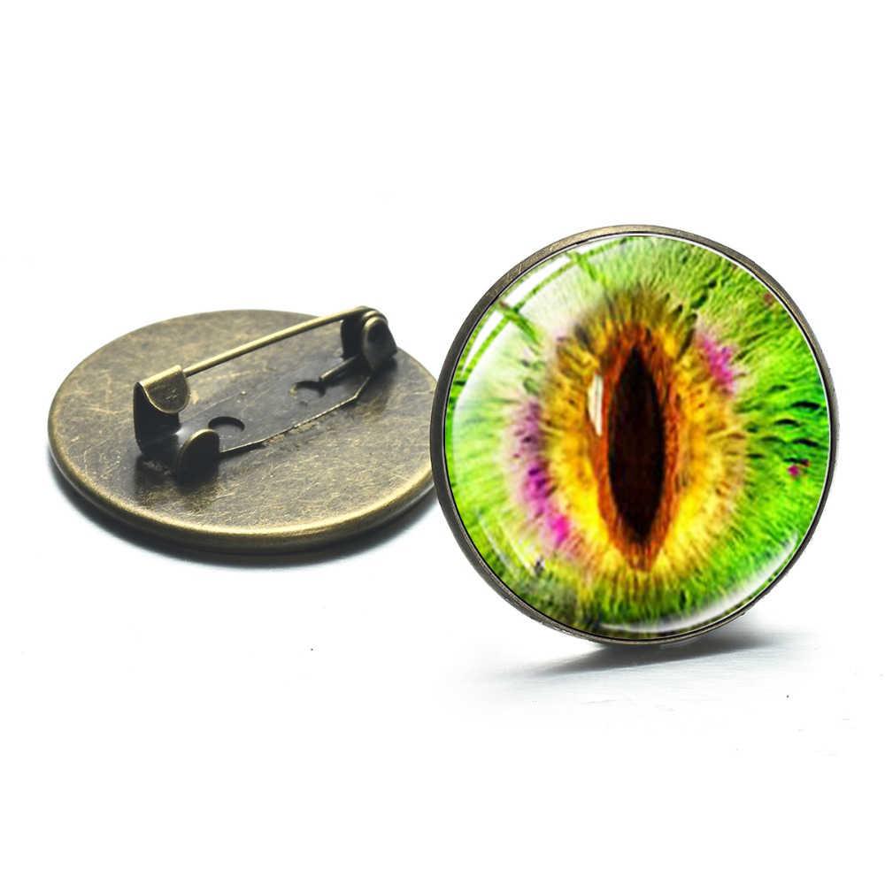 Dzikie smocze oko szkło Cabochon metalowe broszki Steampunk zwierząt wielokolorowe oczy 3D Art Picture przypinki na klapę przycisk ręcznie robiona biżuteria