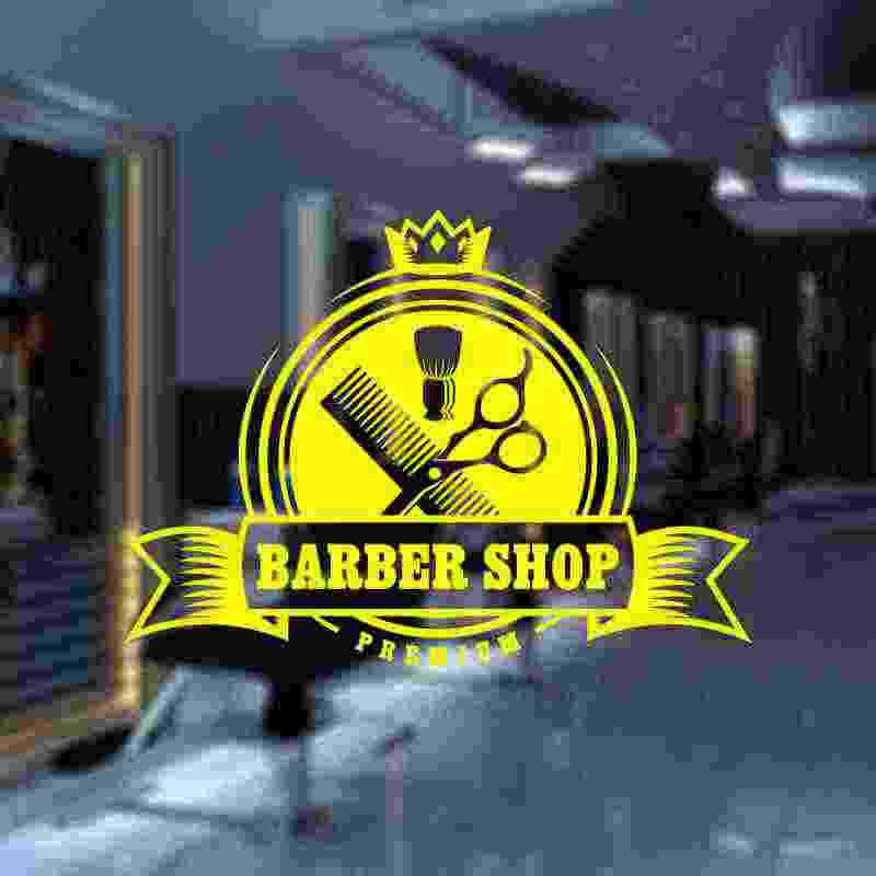 Etiqueta engomada del pan de la barbería calcomanía personalizada del vinilo de la pared decoración de las ventanas decoración del corte de pelo afeitadoras de cristal de la barbería pegatinas de la tienda