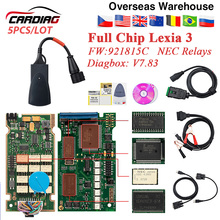 5 قطعة ليكسيا 3 PP2000 رقاقة كاملة FW 921815C دياجبوكس V7.83 لسيتروين لبيجو V48/V25 lexia3 السيارات OBD2 أداة تشخيص lexia3