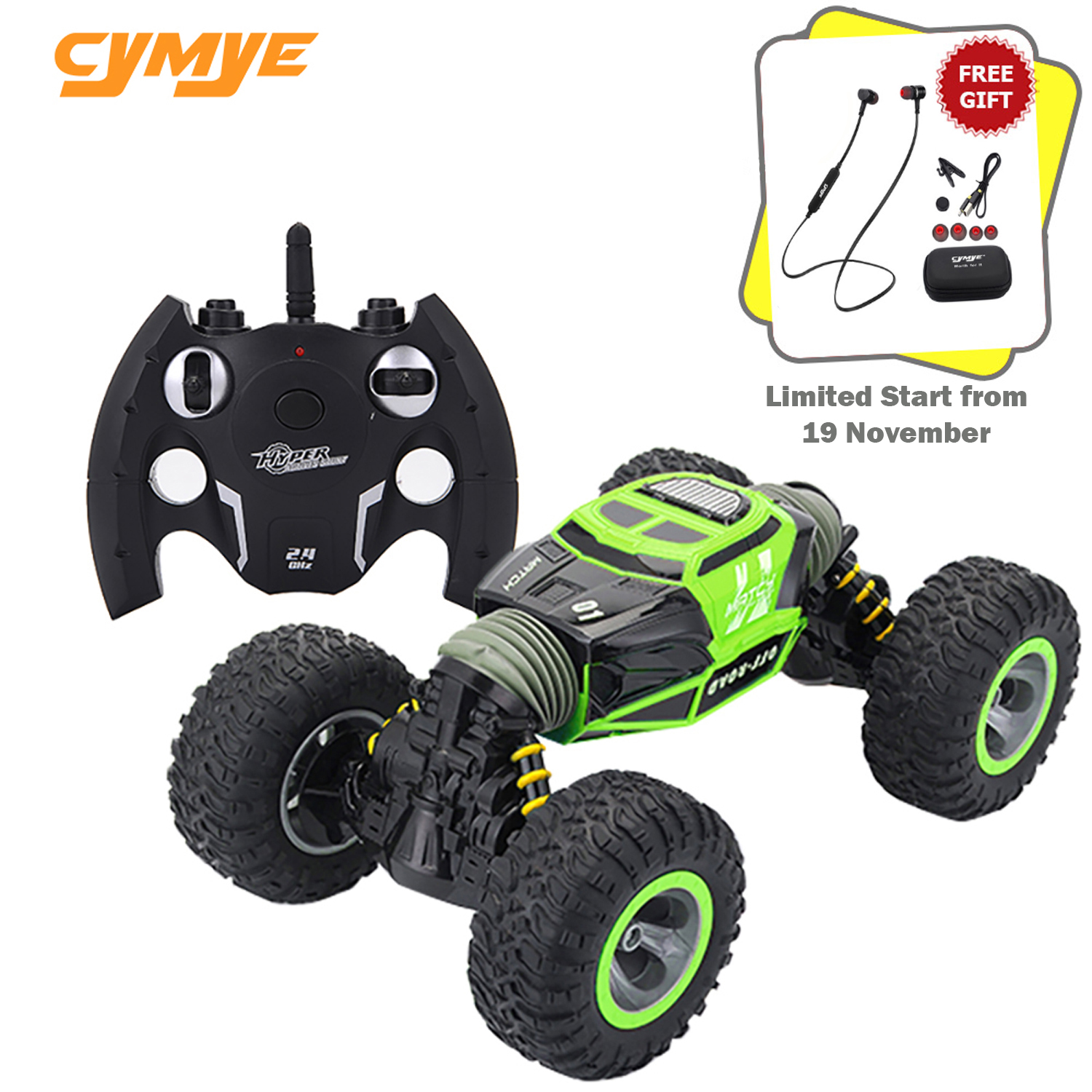 Cymye RC Car 4WD Double-sided 2.4GHz One Key Transformation All-terrain Vehicle Varanid Climbing Car Remote Control Truck image