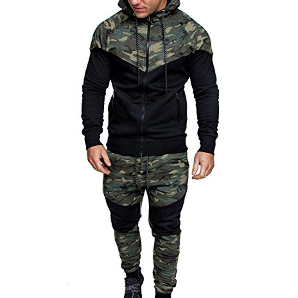 Men's 2 Pieces Suit 2020 New Autumn Winter Camouflage Sweatshirt Top Pants Sets Sports Suit Tracksuit For Hiking Running#G2