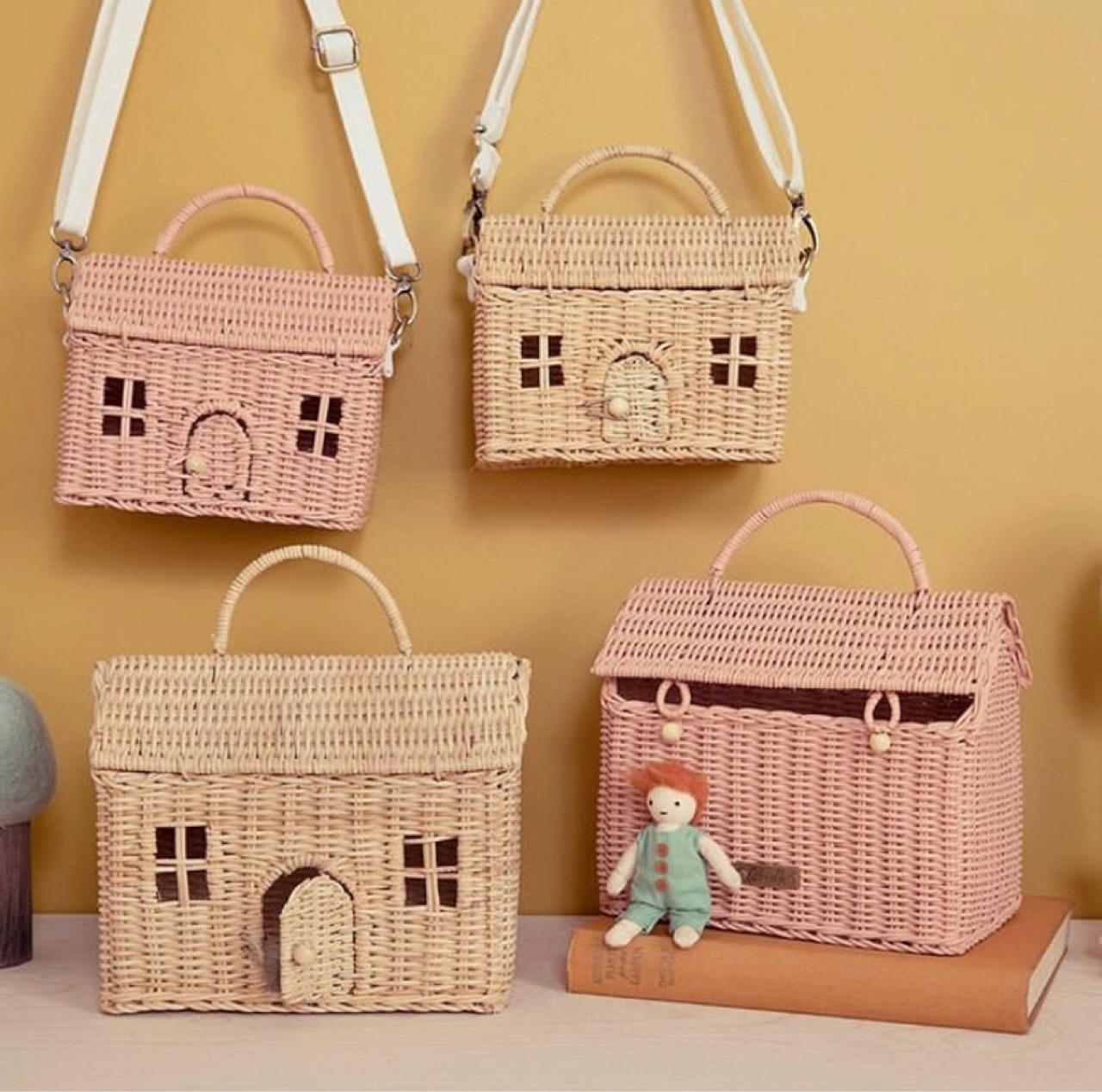 Crianças artesanais rattan saco tecido pequena casa sacos de ombro fotografia saco de palha mensageiros