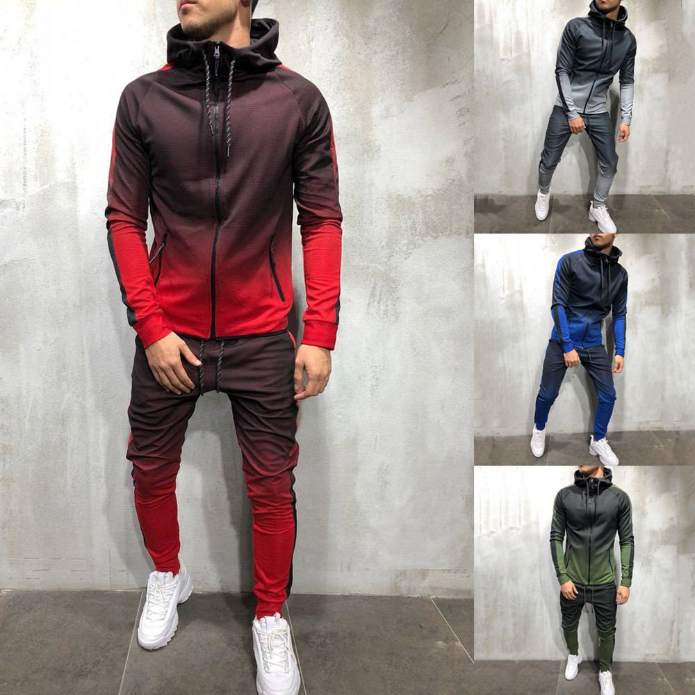 2020 New Male Tracksuit Men Zipper Set Sporting 2 Pieces Sweatsuit Men Clothes Printed Hooded Hoodies Jacket Pants Track Suits