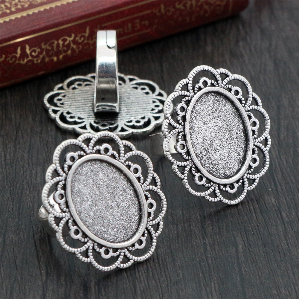 13x18mm 5pcs Antique Silver Plated Color Brass Oval Adjustable Ring Settings Blank/Base,Fit 13x18mm Glass Cabochons K6-14
