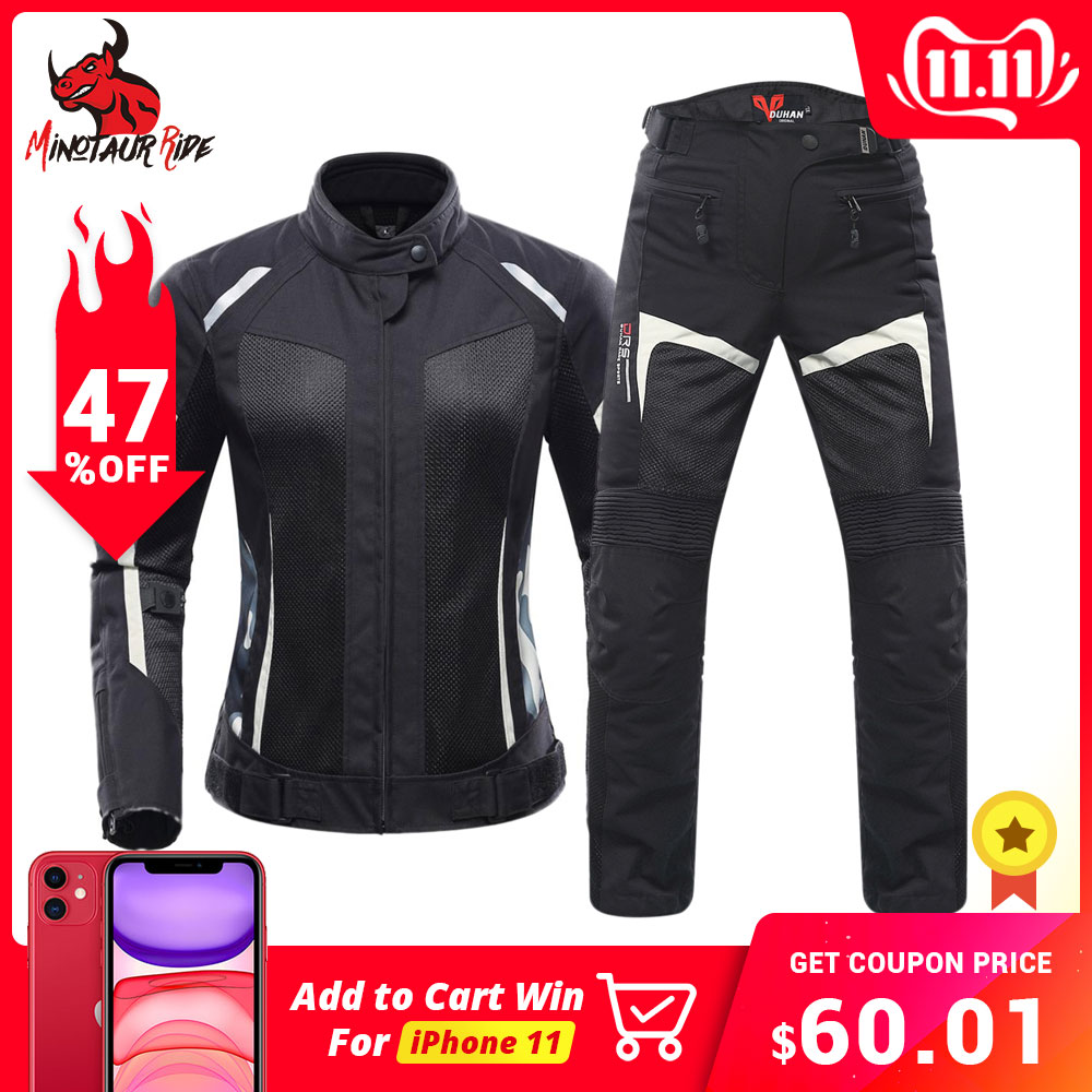 DUHAN Women Motorcycle Jacket Summer Breathable Mesh Moto Jacket Protective Gear Motorcycle Suit Motorbike Clothing Set Black-in Jackets from Automobiles & Motorcycles
