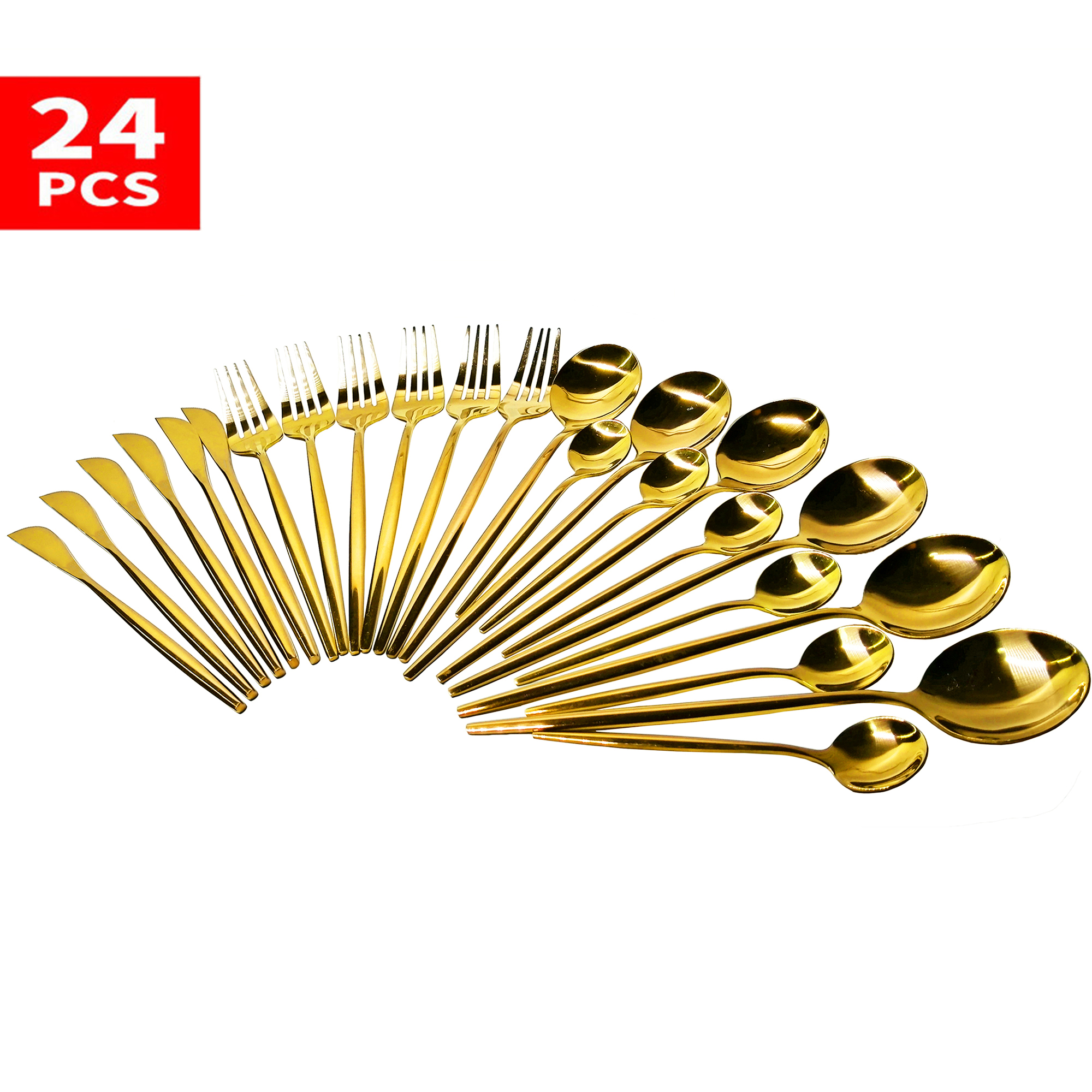24pcs Cutlery Set Dinnerware Set Tableware Stainless Steel Dinner Set Flatware Tableware Kitchen Silverware