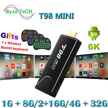 T98 MINI 6K Tv Stick Android 9.0 OS Quad Core 64bits MINI PC Dongle Miracast Blu