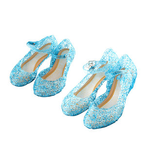 Летняя обувь «Королева Снежной Королевы Эльзы» для девочек; Сандалии принцессы; Детская Праздничная обувь «Золушка» с украшением в виде кр...