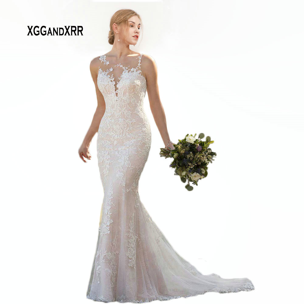 Sexy couches dentelle sirène robe de mariée 2019 élégant Scoop dentelle Applique dos nu longue Boho vestido de noiva blanc gelinlik