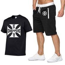 Рок музыка западное побережье, чоппер Футболка с принтом Мужская Летняя мода хлопок хип хоп Harajuku короткий рукав мужская футболка+ брюки костюм