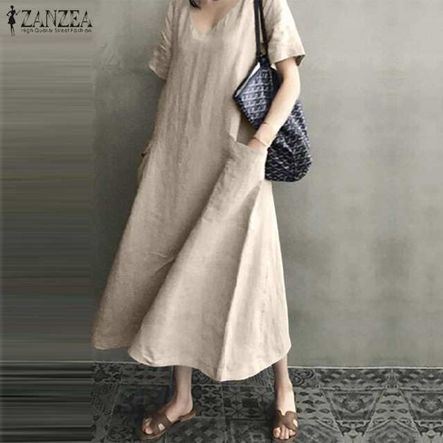 ZANZEA 2021 Women Long Maxi Summer Dress Casual Cotton Linen  Ladies Big Pockets Beach Party Robe Femme Vestidos Plus Size 5XL 2