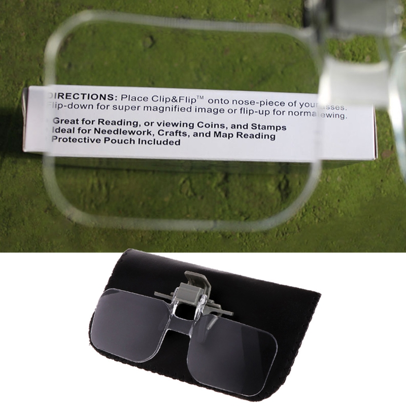 Light-weight Glasses Style Magnifier 2x Pmma Acrilic Magnifying Glass With Clip Loupe For Needlework Crafts And Map Reading