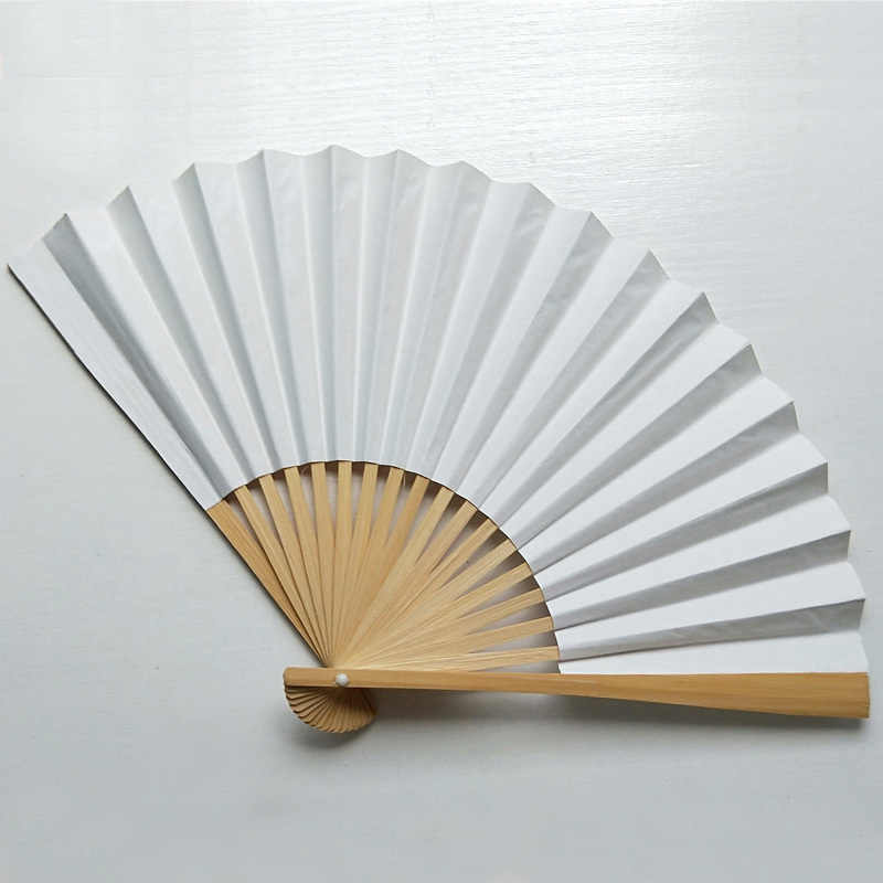 1 pieza de estilo chino de mano abanico de papel de bambú plegable abanico de mano para boda abanico de mano flor baile personalizado fiesta de boda favor
