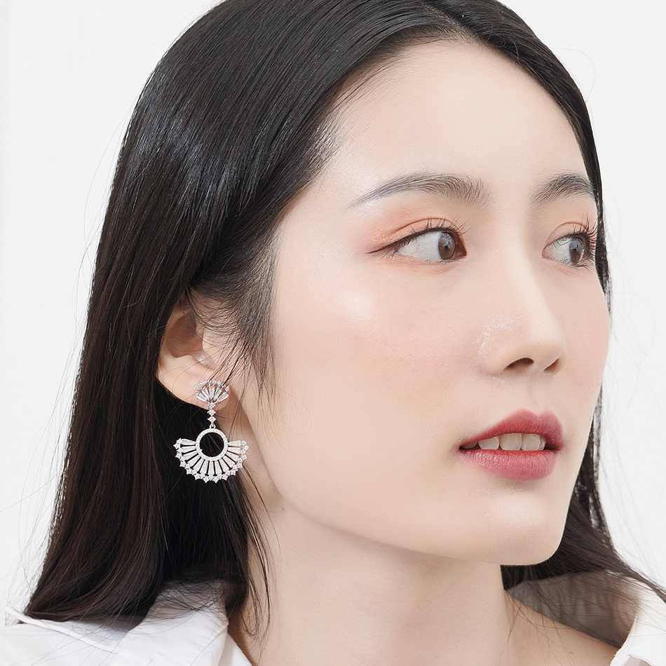 ALLNOEL 925 Sterling Silver Earrings White Zircon Diamond Earrings for Women Scalloped Real Gold White Gold Plated Fine Jewelry