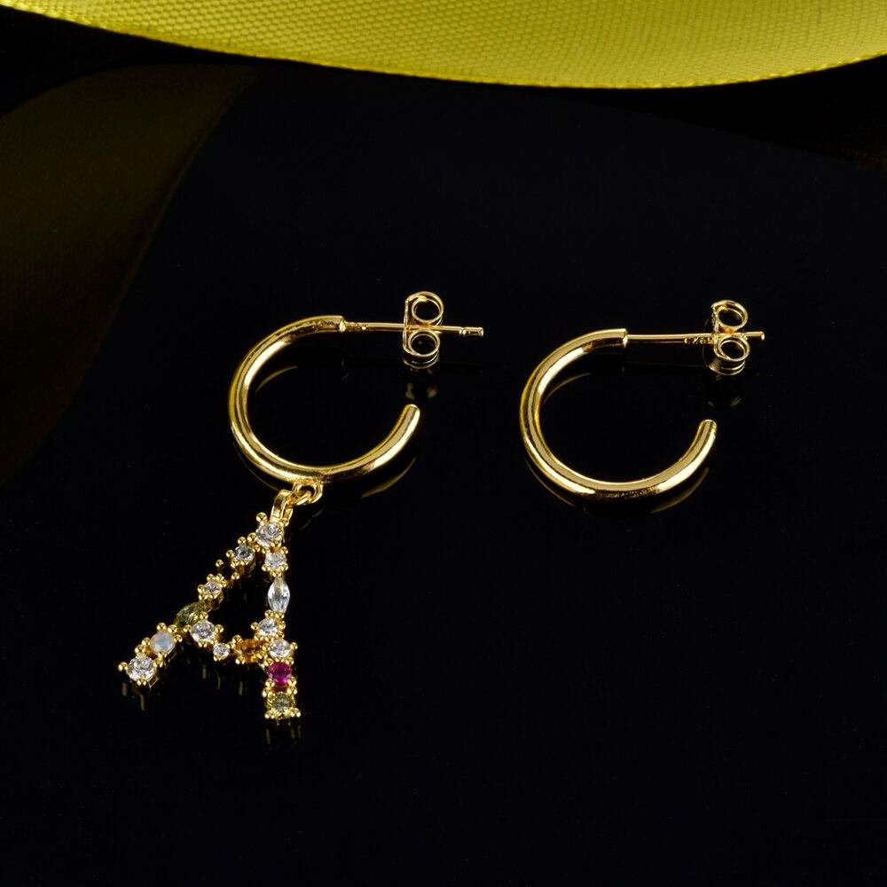 Image 2 - Andywen 925 prata esterlina cristal letra a m aros gota balançar brinco alfabeto k inicial e charme brincos feminino 2020 jóiasBrincos compridos   -