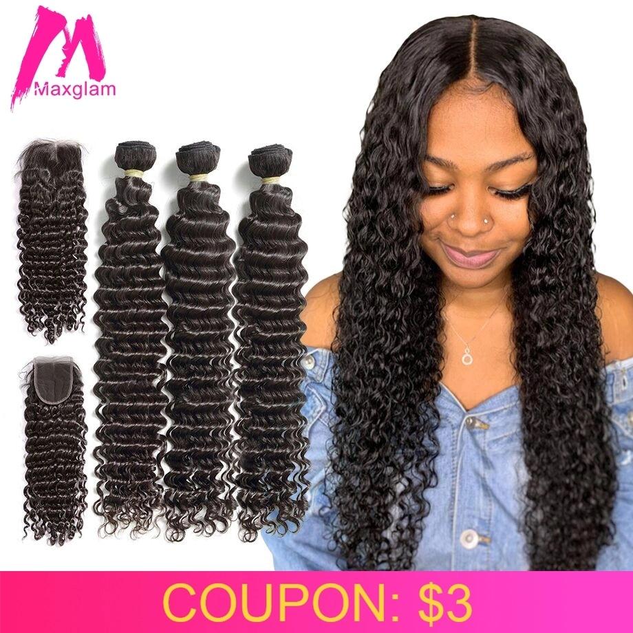 Deep Wave Bundles With Closure Human Hair Extension 30 40 Inch Brazilian Natural Remy Weave 3 4 Bundles For Black Women Hd Lace