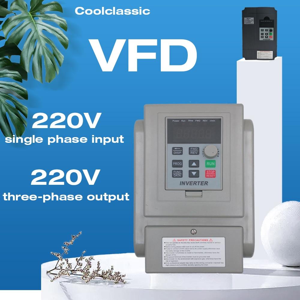 VFD 2.2KW Inverter CNC Spindle Motor Speed Controller 220V/110V 1.5KW/2.2KW/4KW 220V 3-Phases Fequency Converter 50Hz to 60Hz