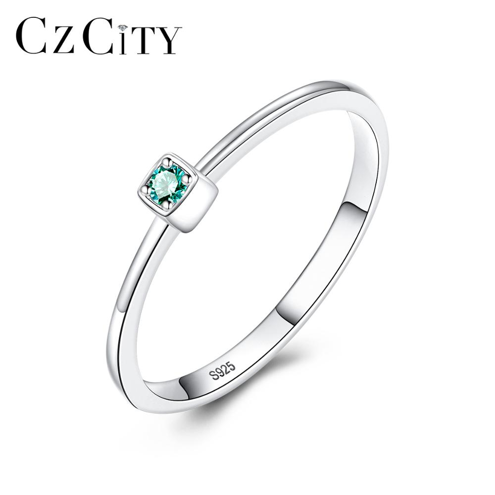 CZCITY Genuine 925 Sterling Silver VVS Green Topaz Wedding Rings for Women Minimalist Thin Circle Gem Rings Jewelry Carving S925(China)
