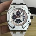 Reloj de goma de color negro plateado de marca de lujo para hombre, relojes de zafiro mecánicos automáticos, cristal transparente, gris, 42mm AAA +