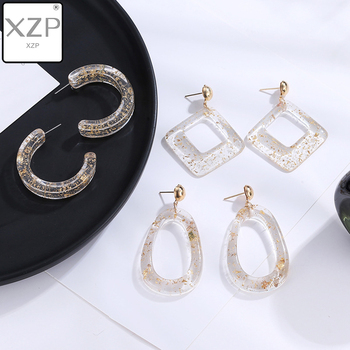 XZP 2019 Korean Cold Acrylic Drop Earrings Transparent Gold Flash with Acetic Acid Geometric Temperament for Woman C Earrings image