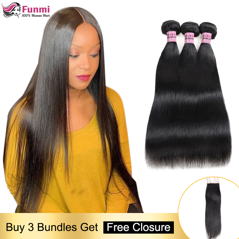 Free Closure Straight Human Hair Bundles Peruvian Hair Weave Bundles Straight Hair Bundles With Closure 100% Human Hair Non-Remy