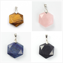 FYJS Unique Silver Plated Hexagon Star Section Tiger Eye Stone Pendant Lapis Lazuli Amulet Jewelry