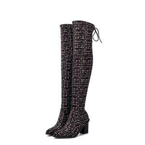 Image 4 - Женские сапоги выше колена MORAZORA, Черные Сапоги выше колена с острым носком, на высоком каблуке, осенне зимний сезон 2020