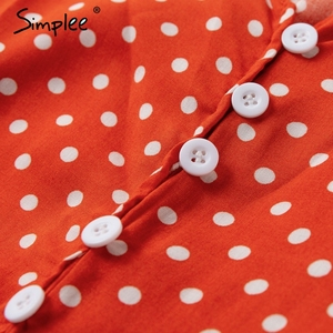 Image 5 - Simplee Elegant Polka dot boho women midi summer dress Sexy v neck strap button A line dress Female print beach vestidos