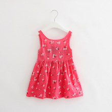 Baby Girls Summer Dress Toddler Kids Floral Printed Clothes Casual Sleeveless Backless Princess Dresses for Girl Beach Clothing new summer toddler kids baby girl sleeveless backless cartoon girls print princess dress sundress clothes