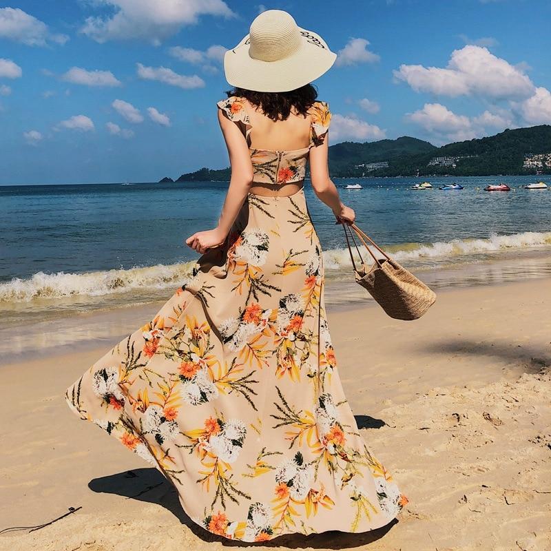 1721 Photo Shoot Horizontal Neck High-waisted Backless Big Long Hem Bohemian Holiday Goddess Dress Boracay